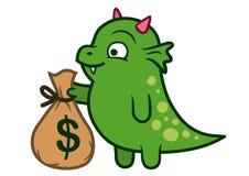 Monstre amical mignon de dragon vert tenant le sac d'argent Photos stock