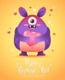 Monstre de bande dessinée avec une carte de Valentine de coeur Photos stock