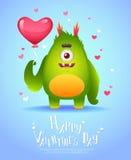 Monstre de bande dessinée avec une carte de Valentine de coeur Images libres de droits