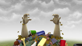 Monstre de déchets, illustration 3d Photo stock