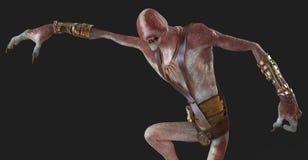 monstre de démon d'abat-jour de l'illustration 3D d'isolement sur le fond gris illustration de vecteur