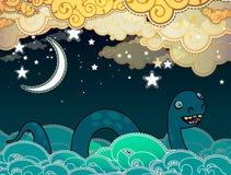 Monstre de Loch Ness de style de bande dessinée Image libre de droits