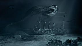 Monstre de mer et bateau submergé illustration de vecteur
