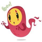 Monstre de vol de bande dessinée Dirigez l'illustration de Halloween du fantôme rose de sourire avec avec des griffes D'isolement Photos stock