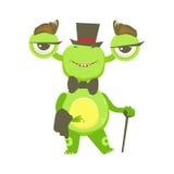 Monstre drôle de monsieur avec le chapeau supérieur et le noeud papillon, autocollant vert de personnage de dessin animé d'Emoji  Photographie stock