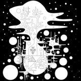 monstre drôle noir et blanc Étranger fantastique, d'isolement sur le fond noir Illustration Libre de Droits