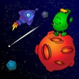 Monstre et fusée de l'espace Image stock