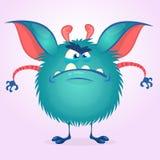 Monstre fâché coloré mignon de bande dessinée Gros caractère de monstre de vecteur Conception de Halloween illustration de vecteur