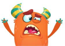 Monstre fâché de bande dessinée Émotion orange fâchée de monstre Illustration de vecteur de Veille de la toussaint illustration stock