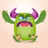 Monstre fâché de bande dessinée Illustration ou troll de vecteur de Halloween Photos libres de droits