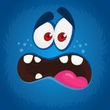 Monstre frais de bande dessinée avec l'avatar effrayé de visage Illustration bleue de monstre de Halloween de vecteur illustration libre de droits