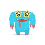 Monstre géant velu bleu heureux en verres foncés en forme d'étoile faisant la fête dur en tant qu'invité au vecteur snob fascinan Photo stock