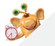 Monstre joyeux de bande dessinée de l'imagination 3d tenant le réveil avec le courrier Images libres de droits