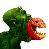Monstre mangeant la lanterne de Jack O illustration de vecteur