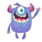 Monstre mignon de bande dessinée avec des klaxons et avec un oeil Émotion de sourire de monstre avec la grande bouche illustration stock
