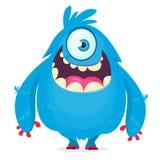 Monstre mignon de bande dessinée avec des klaxons avec un oeil Émotion de sourire de monstre avec la grande bouche illustration de vecteur