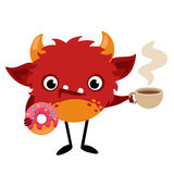 Monstre mignon de bande dessinée avec une tasse de café et de donu chauds Images libres de droits