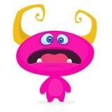 Monstre mignon de dessin animé Émotion rose drôle étonnée de monstre illustration stock