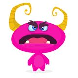 Monstre mignon de dessin animé Émotion rose drôle étonnée de monstre Illustration de vecteur de Veille de la toussaint illustration stock