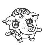 Monstre mignon drôle avec un tronc, noir et blanc, ligne Photos stock