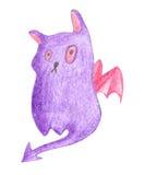 Monstre pourpre de chat avec des ailes Photographie stock libre de droits