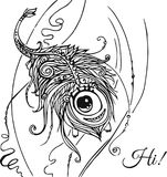 monstre velu aux yeux joyeux, comme une plume Photographie stock