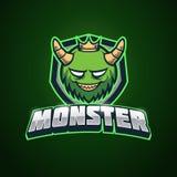 Monstre vert Esport Logo Template Illustration de Vecteur