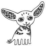 Monstres à oreilles mignons drôles, noirs et blancs, ligne Photos libres de droits