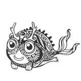 Monstres amphibies mignons drôles, noirs et blancs, ligne Photographie stock libre de droits