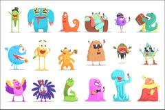 Monstres ayant l'amusement à la partie Caractères colorés de créatures géniales avec des attributs de partie illustration libre de droits