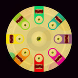 Monstres bariolés de dessin animé sur le rétro cache de disque de vinyle Photos libres de droits