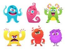 Monstres de bande dessinée Les visages mignons effrayants de troll de lutin de lutin des monstres colorés dirigent les caractères illustration de vecteur