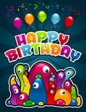 Monstres de fête d'anniversaire Images libres de droits