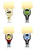 Monstres de Halloween avec le signe illustration stock