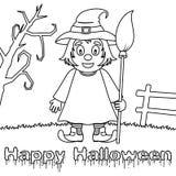 Monstres de Halloween de coloration - sorcière mignonne Photos stock