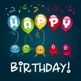 Monstres de joyeux anniversaire Image stock