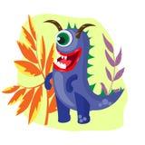 Monstres drôles et mignons sur le fond des usines fantastiques, illustration de vecteur illustration stock