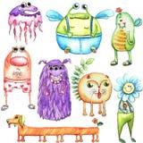 Monstres drôles d'aquarelle réglés Image stock