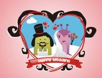 Monstres mignons épousant des couples Photographie stock libre de droits
