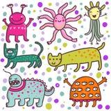 monstres mignons de dessin animé Images stock