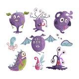 monstres mignons de dessin animé Vecteur illustration libre de droits