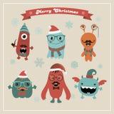 Monstres mignons de Noël de hippie de vecteur rétros réglés Photos libres de droits