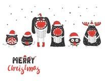 Monstres mignons et drôles de Noël illustration de vecteur