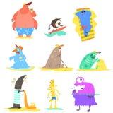 Monstres sur la collection d'illustration de plage Image libre de droits