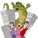 Monstret förstör staden Royaltyfri Foto