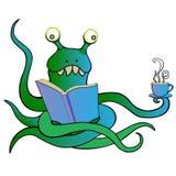 Monstret läser och dricker te stock illustrationer