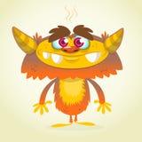Monstro alaranjado e macio dos desenhos animados felizes Monstro do vetor de Dia das Bruxas ilustração royalty free