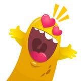 Monstro amarelo da gota dos desenhos animados no amor Os Valentim do St vector a ilustração do monstro loving entusiasmado imagem de stock royalty free