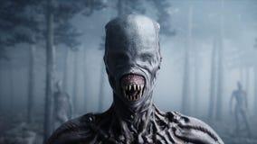 Monstro assustador no medo e no horror da floresta da noite da névoa Mistic e conceito do UFO rendição 3d ilustração royalty free