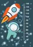 Monstro azul funky com um míssil no espaço na perspectiva das estrelas Stadiometer Vetor Imagem de Stock